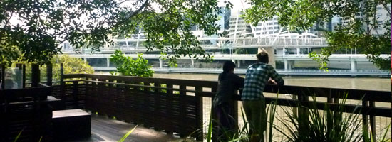 photograph of couple overlooking Brisbane river